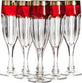 Набор фужеров для шампанского Сафари 6шт, 150мл, рубин-золото Crystalite Bohemia 1KC86K/0/432267/150