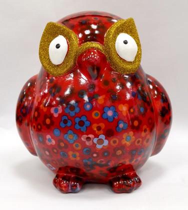 Копилка Большая Сова BIG ERROL XL красная с цветочками Pomme-Pidou 148-00061/1