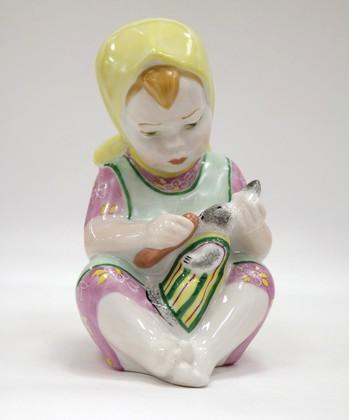 Скульптура Девочка с зайцем, Дулёвский фарфор ДС810