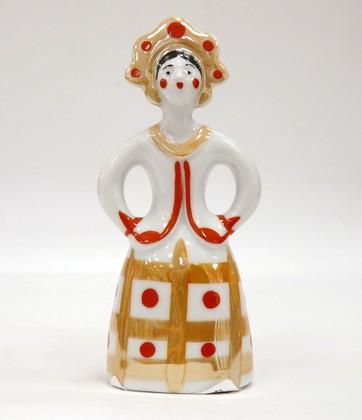 Скульптура Матрёшка-невеста в золотом платье с красным, Дулёвский фарфор ДС246.3