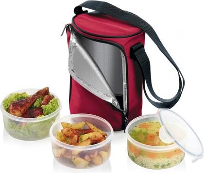 Термосумка для переноса еды Tescoma Freshbox, с 3 емкостями 1.5л бордовый 892211.00