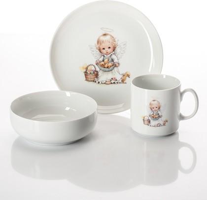 Набор для завтрака Ангелочек с корзиной Porcelaine Czech Gold Hands DSATEB121/3