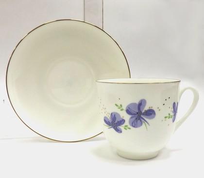 Чашка с блюдцем ИФЗ Ландыш, Сиреневые цветы 81.17581.00.1