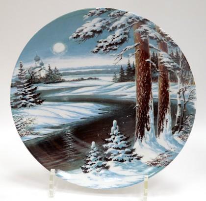 Тарелка настенная Зима d200мм Дулёвский фарфор 08699