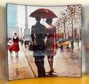 Модульная картина Top Art Studio Поцелуй под дождем 58х58см, пара, дерево, лак WDP0264-TA