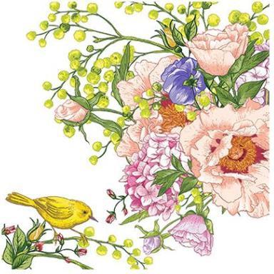 Салфетки Птица на цветке, 33x33, 20шт Paw SDL084700