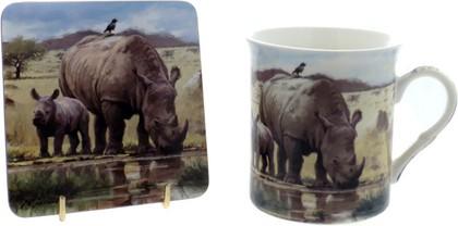 Кружка Макнил с подставкой Носороги 300мл The Leonardo Collection LP91561