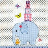 Салфетки для декупажа Голубой слон, 33x33см, 3 слоя, 20шт Paper+Design 21803