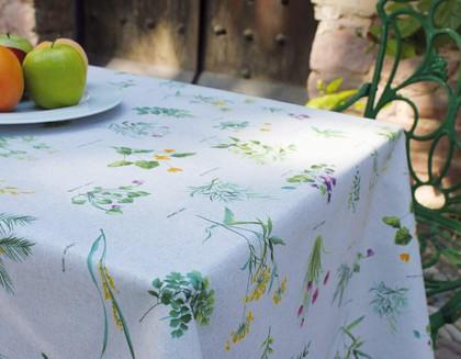 Скатерть текстильная 140х200см, зелёные цветы Aitana Renoir RENO/140200/flow