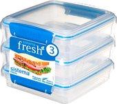 Набор контейнеров для сэндвичей 450мл, 3шт, голубой Sistema Fresh 921643