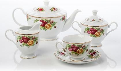 Чайный серв 6/17 Английская роза Porcelaine Czech Gold Hands LUISA1343C/17