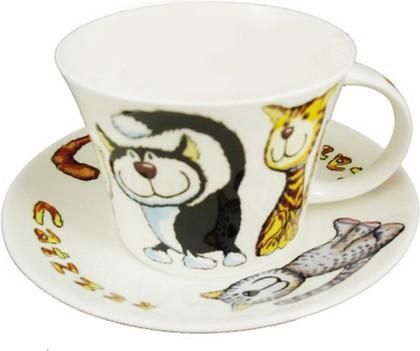 Чайная пара для завтрака Кошки-с 500мл Roy Kirkham XCATZ1110