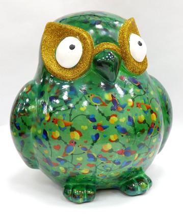 Копилка Большая Сова BIG ERROL XL зелёная с птичками Pomme-Pidou 148-00061/3