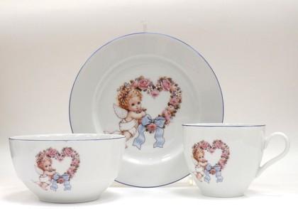Набор для завтрака с рисунком Ангелочек голубой Porcelaine Czech Gold Hands DSRITAB282/3