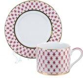 Чашка с блюдцем ИФЗ Соло, Сетка-Блюз, розовый 81.25616.00.1