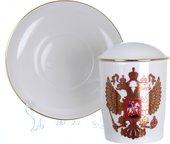 Кружка с блюдцем и крышкой ИФЗ Снежное утро, Двуглавый орёл 81.15546.00.1