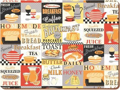 Подставки на пробке Ретро завтрак 29x22см, 4шт Creative Tops 5165816