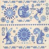 Салфетки для декупажа Голубой дизайн, 33x33см, 3 слоя, 20шт Paper+Design 21837