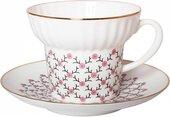 Чашка с блюдцем Розовая сетка, ф. Волна ИФЗ 81.14621.00.1
