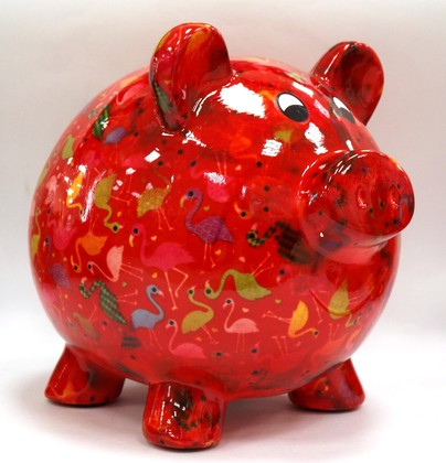 Копилка Pomme-Pidou Свинья Big Peggy XL красная с фламинго 148-00026/A