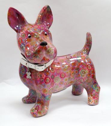 Копилка Шотландский Терьер BIG BOOMER XL розовая с цветами Pomme-Pidou 148-00209/3