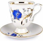 Бокал с блюдцем Дулёвский фарфор Классический, Синий мак, 600мл ДС1055.1
