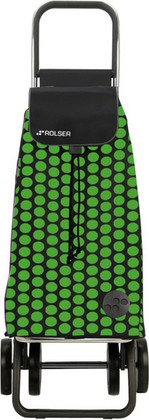 Сумка-тележка хозяйственная чёрная с зелёным Rolser DOS+2 MOU055verde/negro