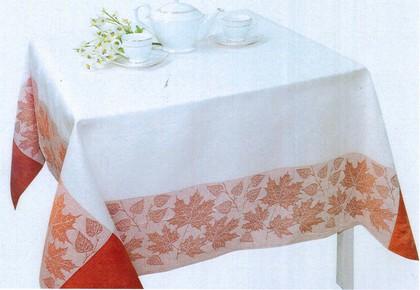 Скатерть Листва150x175 бело-терракотовая Белорусский лён 12c518/150x175/279/55