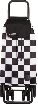 Сумка-тележка Rolser F-Tres, поворотные колёса, складная, чёрно-белая PAC078blanco/negro