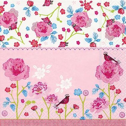 Салфетки коктейль Розовый мир, 25x25см, 3 слоя, 20шт Paper+Design CN0835