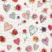Салфетки для декупажа Сердечки, 33x33см, 3 слоя, 16шт Paper+Design 24052