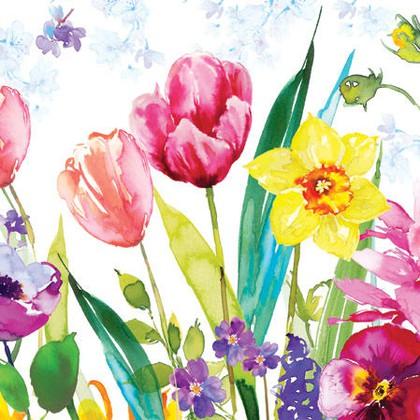 Салфетки Луг тюльпанов, 33x33, 20шт Paw SDL076700