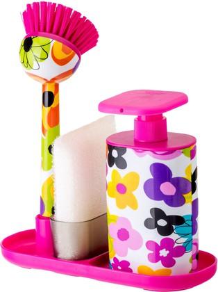 Дозатор моющего средства с щёткой для посуды и губкой на подставке Vigar Watercolor 7168