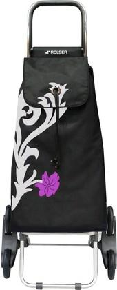 Сумка-тележка хозяйственная черная с рисунком ROLSER RD6 IMX009plata