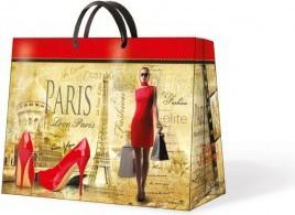 Пакет подарочный бумажный Paw Модница красный горизонтальный 33.5x13х26.5см AGB015506