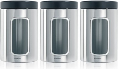 Банки для хранения продуктов Brabantia с окном 1.4л, сталь полированная, 3шт 247286