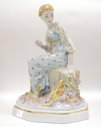 Скульптура Малахитница №1399б Дулёвский фарфор ДС1757