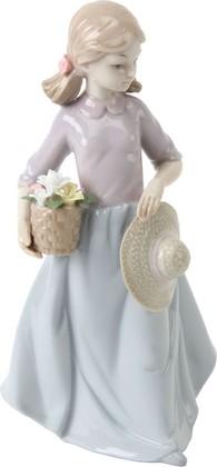 Статуэтка Widdop Bingham Девочка с корзинкой цветов, 18см, фарфор 60362
