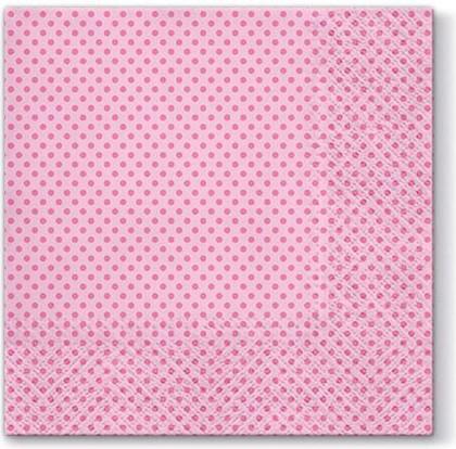 Салфетки для декупажа Точки, розовые 33x33, 3-сл, 20шт Paw TL690004