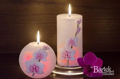 """Свеча """"Орхидея"""" с подсветкой, колонна 7х14см Bartek Candles 186011"""