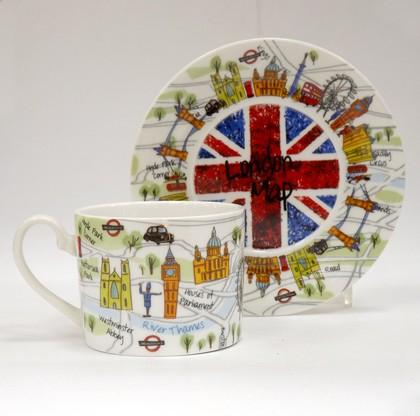 Чайная пара Карта Лондона 200мл, Princess James Sadler JSLC00281