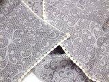 Скатерть d148 +6 салф. 38x38 тёмно-сиреневая с кружевом Белорусский лён 17c217/d148/106/36