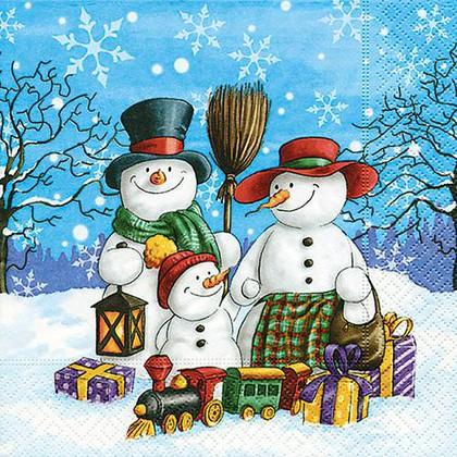 Салфетки для декупажа Семья снеговиков, 33x33см, 3 слоя, 20шт Paper+Design 60888