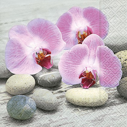 Салфетки для декупажа Paper+Design Орхидеи на камнях, 33x33см, 20шт 200155