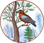 Тарелка декоративная Зимующие птицы. Сосновый клёст, ф. Эллипс ИФЗ 80.80352.00.1