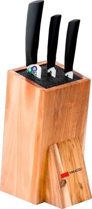 Набор из 3 ножей с керамическими лезвиями и универсальной деревянной подставкой Mikadzo IMARI-W IKW-ST-SET3-PL