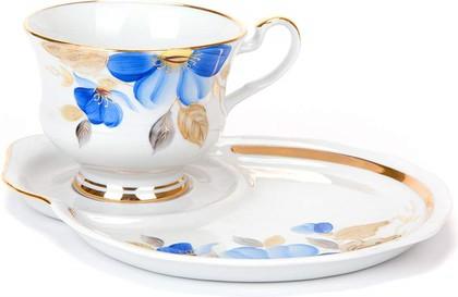 Чайная пара Дулёвский фарфор Весенний, Синий цветок С1355