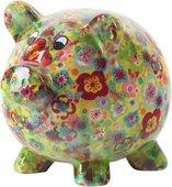 Копилка Pomme-Pidou Свинья Peggy, зелёная с цветами 148-00025/D