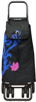Сумка-тележка хозяйственная чёрная с синим Rolser LOGIC TOUR PAC069azul