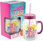 Стеклянная банка для напитков Секс на пляже 550мл с соломинкой The Leonardo Collection LP26164